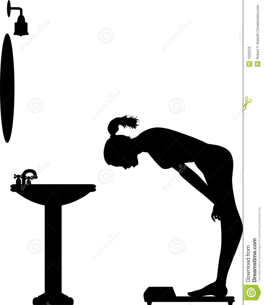 Silhouette Graphic Depicting A Woman Weighing Herself On A Bathroom