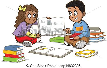 Vector Clipart Of Children With Books   Happy Girl And Boy Sitting On