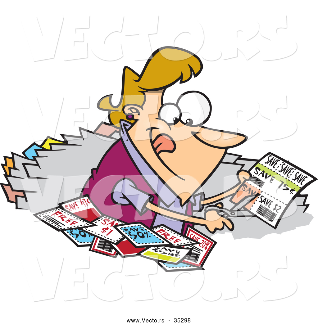 Vector Of A Happy Cartoon Woman Clipping Coupons By Ron Leishman