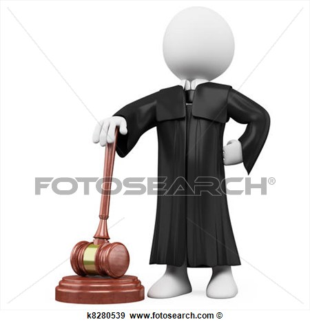 3d Judge With Robe And Hammer  Fotosearch   Search Vector Clipart