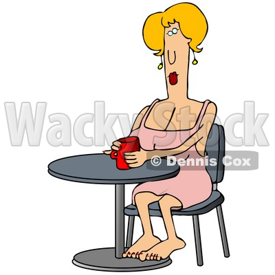 Clipart Illustration Image Of A Blond Caucasian Woman In A Pink Dress
