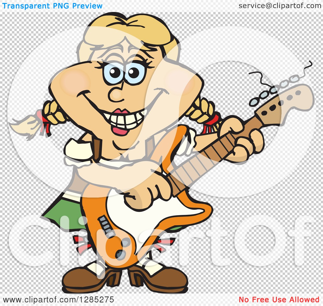 Clipart Of A Cartoon Happy German Oktoberfest Woman Playing An