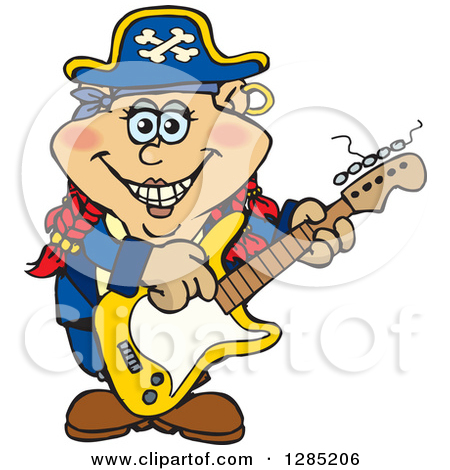 Clipart Of A Cartoon Happy Pirate Woman Playing An Electric Guitar