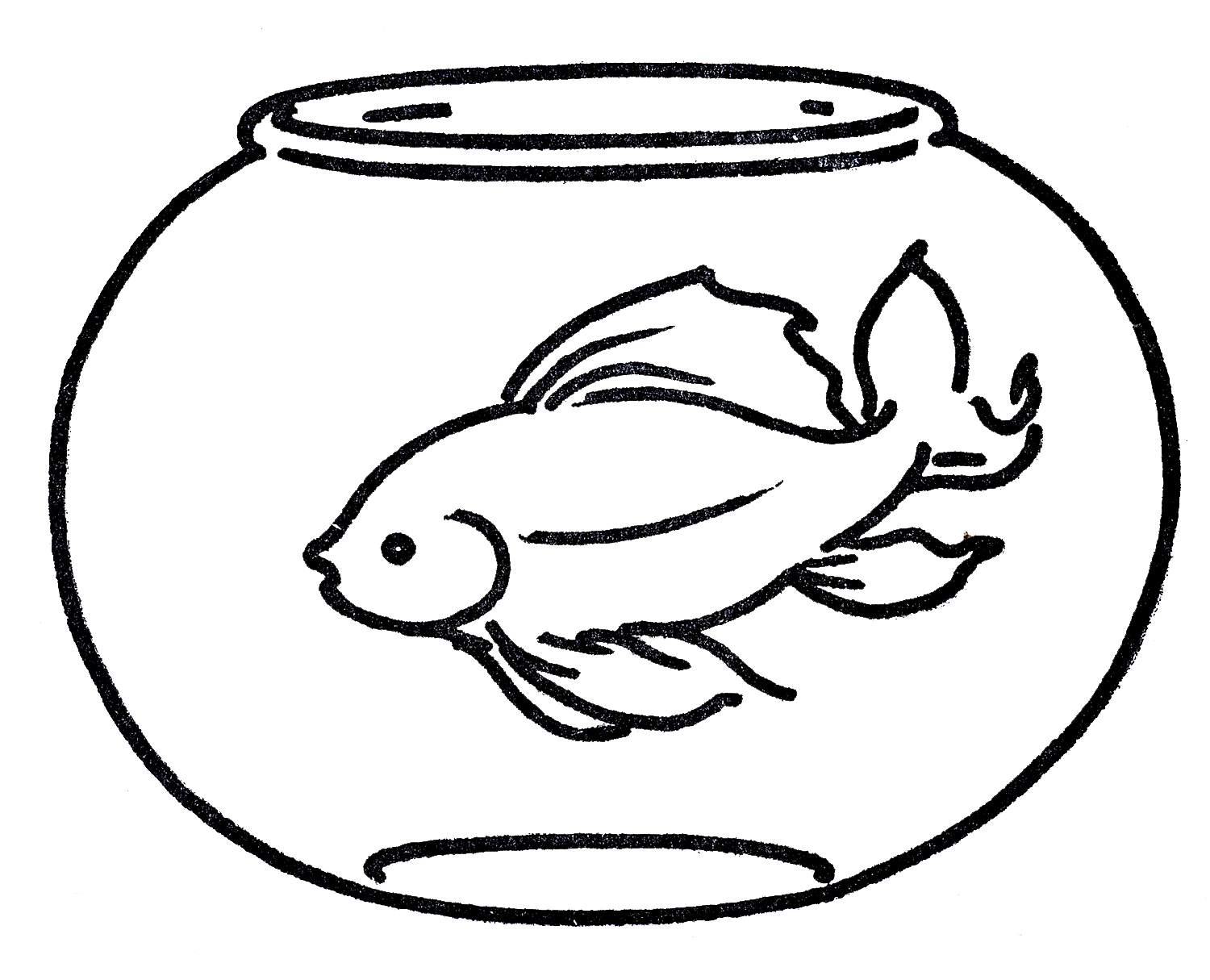 Free Clipart Goldfish In Bowl   Line Art   The Graphics Fairy