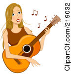 Free Rf Clipart Illustration Of A Dirty Blond Woman Playing A Guitar