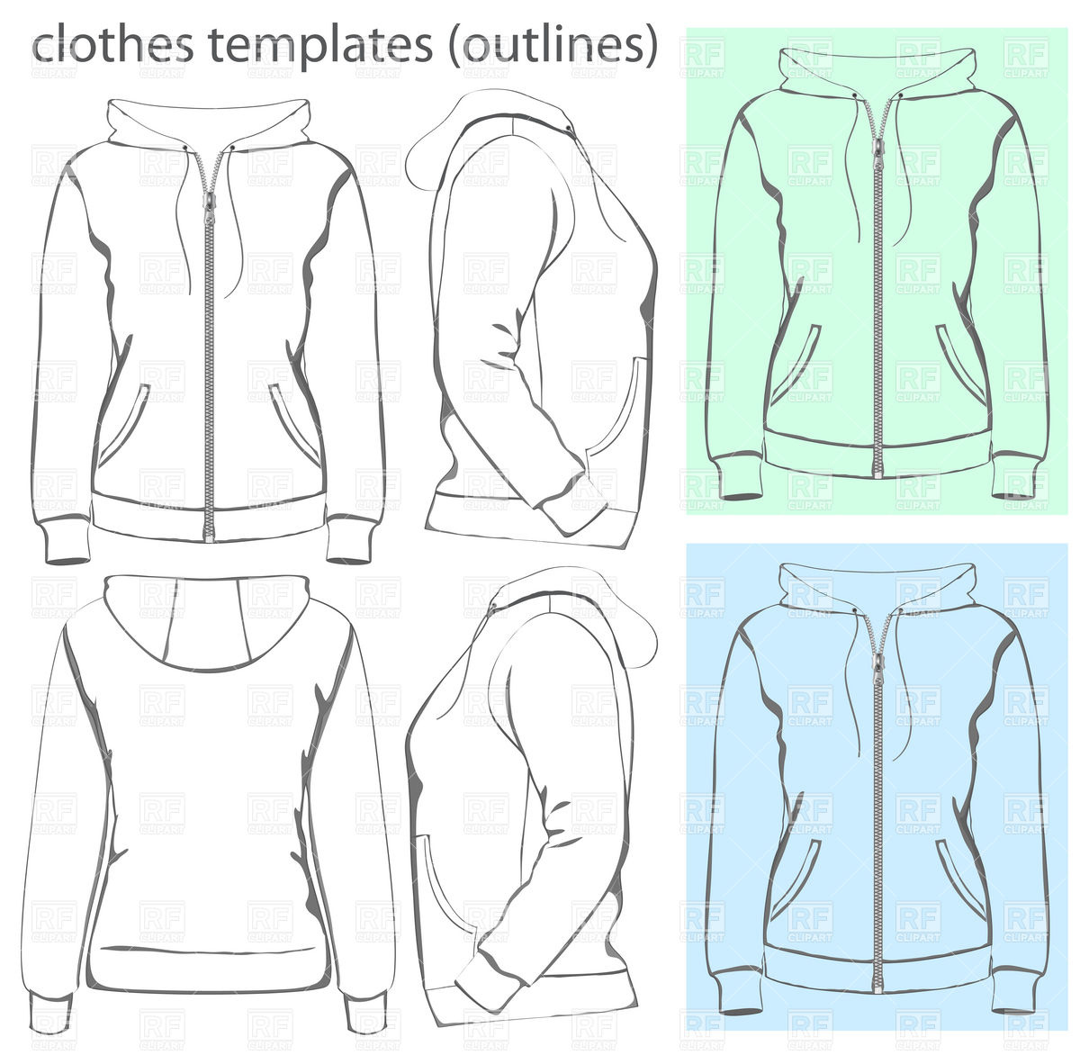 Hooded Sweatshirt With Zipper And Pockets 5087 Download Royalty Free