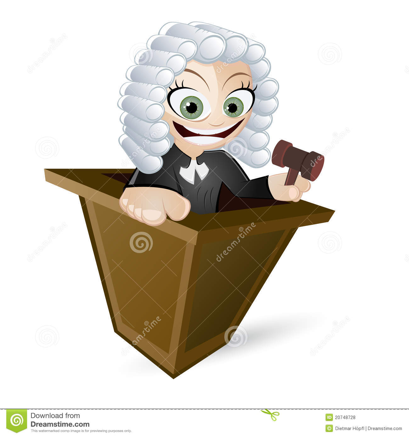 Of A Female British Judge With A White Wig Black Robe And Gavel