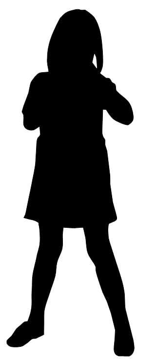 Little Girl Silhouette Clipart - 14.9KB