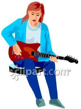 Woman Playing An Electric Guitar   Royalty Free Clipart Picture