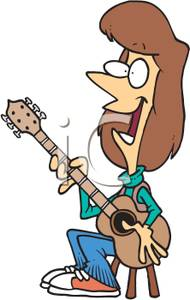 Woman Singing And Playing Guitar Clipart Picture