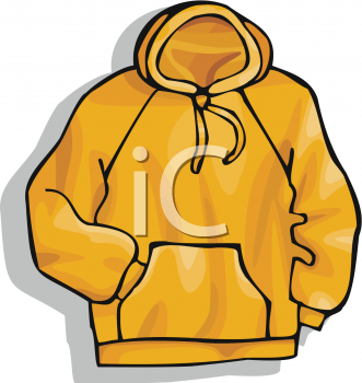 Yellow Hooded Sweatshirt   Royalty Free Clip Art Image