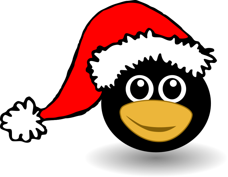 Funny Tux Face With Santa Claus Hat By Palomaironique   Funny Penguin
