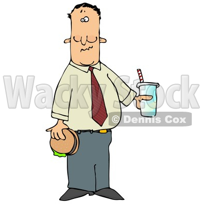 Man Eating A Hamburger And Drinking Cola Clipart Illustration By