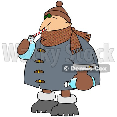 Royalty Free  Rf  Clipart Illustration Of A Winter Man Drinking Water