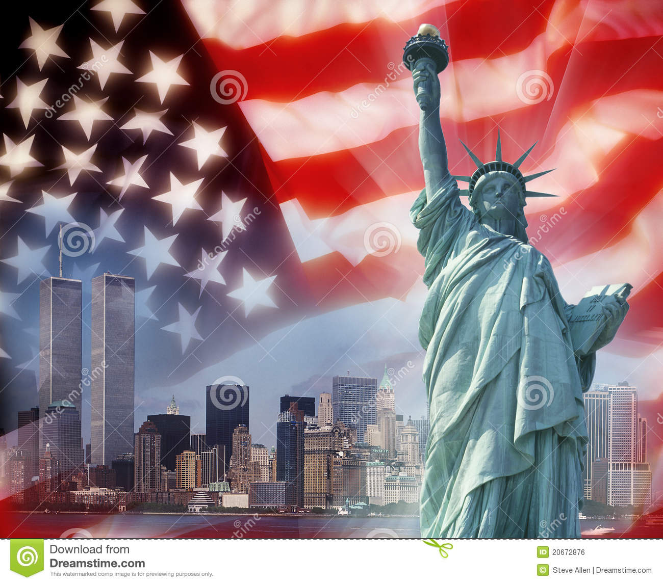 Twin Towers   New York   Patriotic Symbols Royalty Free Stock Image