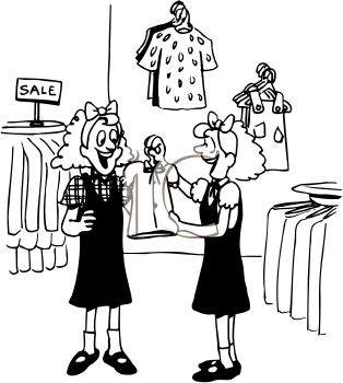 Black And White Cartoon Of Twin Girls Clothes Shopping   Royalty Free