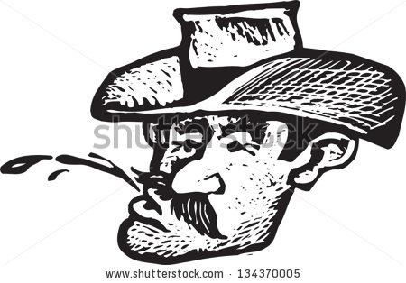 Black And White Vector Illustration Of Cowboy Spitting Chewing Tobacco