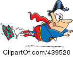 Cartoon Super Hero Losing Altitude And Caught In A Clothes L    By Ron