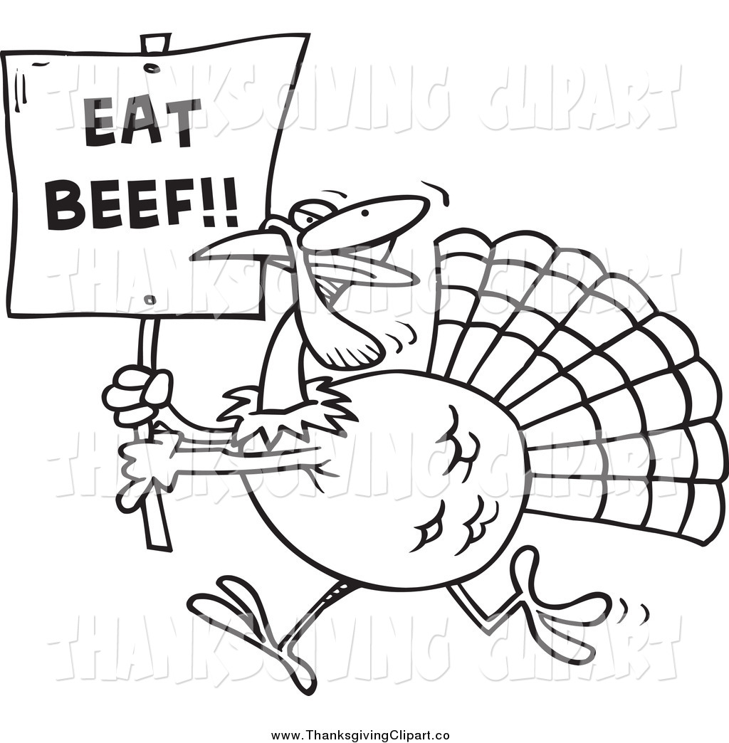 Clip Art Of A Black And White Running Turkey With An Eat Beef Sign By