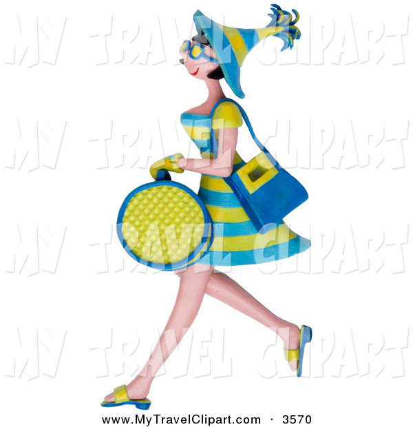 Clipart Of A 3d Shopping Woman Carrying Bags And Walking By Amy