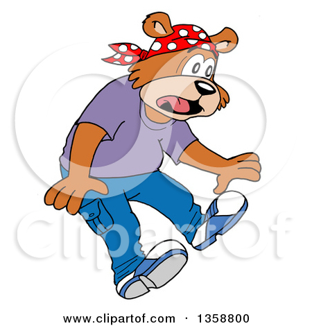 Clipart Of A Cartoon Scared Bear Rapper   Royalty Free Vector
