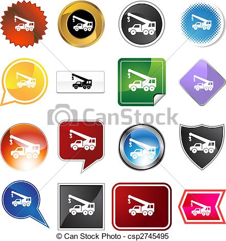 Clipart Vector Of Crane Hook Truck Icon Set   Crane Hook Truck Icon