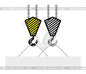 Construction Crane Hook Lifting Blank Board   Vector Clipart