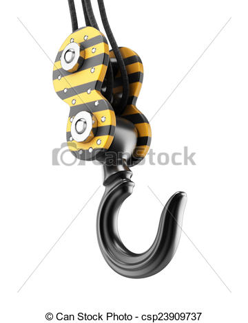 Crane Hook Isolated On White Background  3d Render