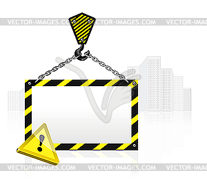 Crane Hook With Blank Poster   Vector Clipart
