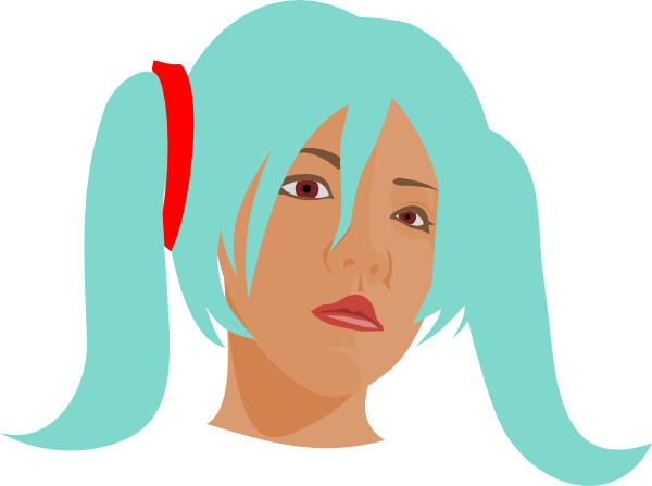 Girl With Blue Hair In Pigtails Clip Art At Clker Com   Vector Clip