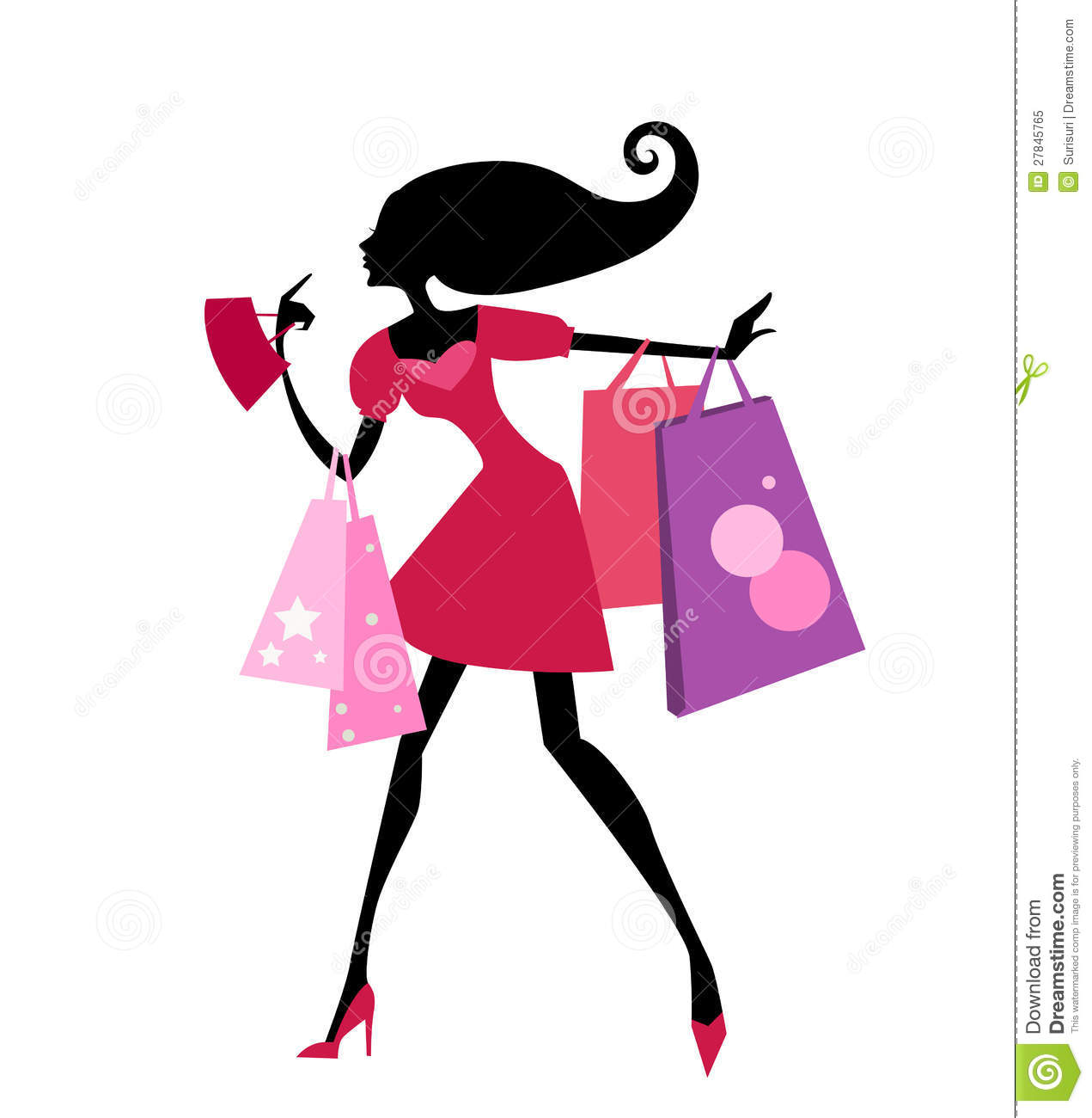 Girl With Shopping Bags Clipart - Clipart Kid