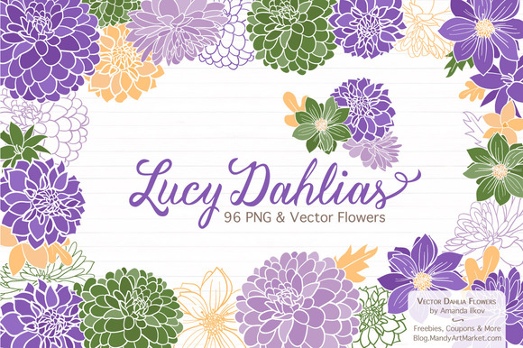 Purple Dahlia Clipart   Vectors