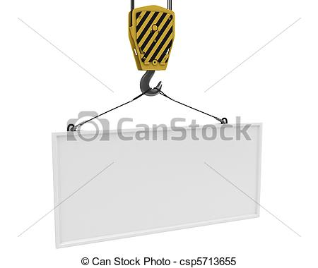 Stock Illustrations Of Yellow Crane Hook Lifting White Blank Plane For