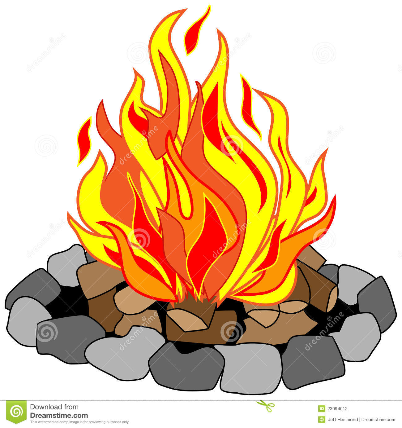 Vector Drawing Of Campfire In A Stone Pit With Burning Logs Creating