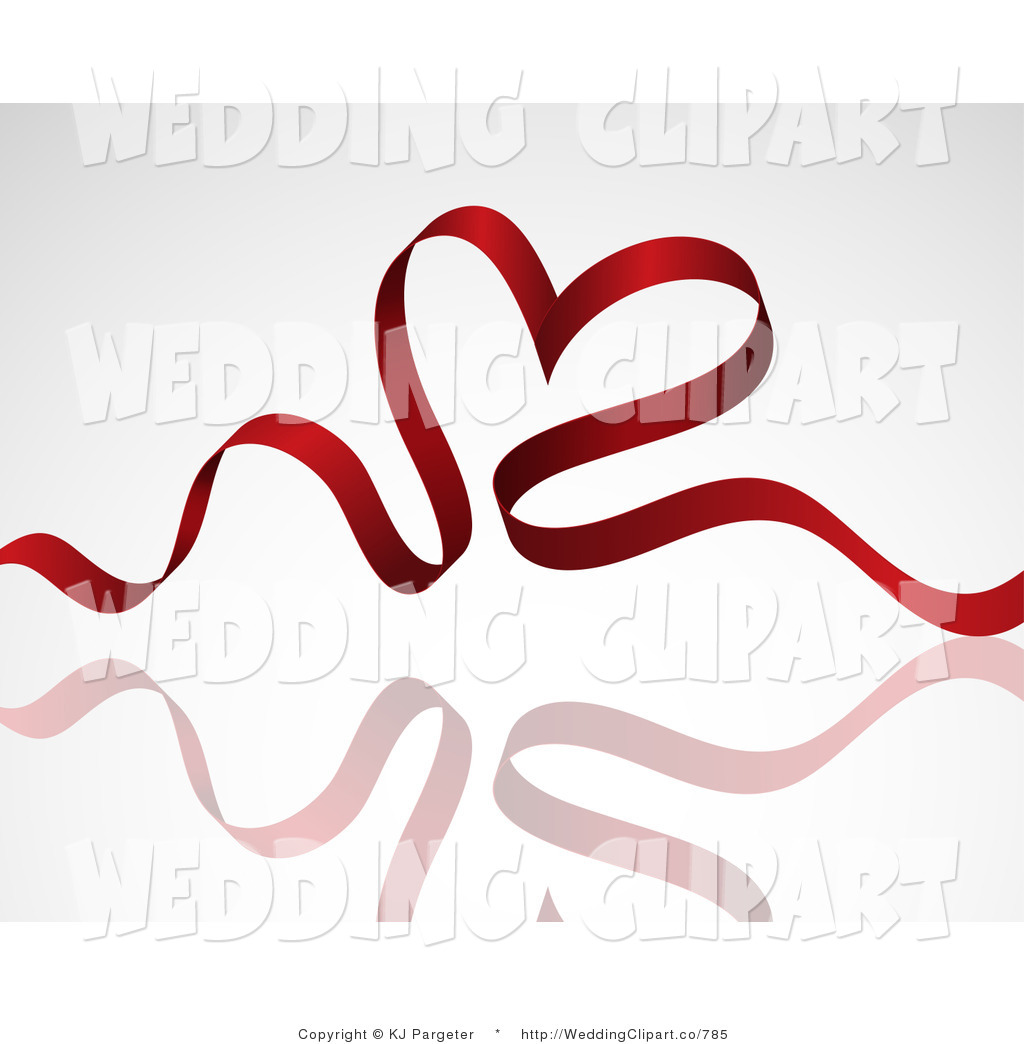 Wedding Red Ribbon Heart With Reflection Wedding Red Ribbon Heart And