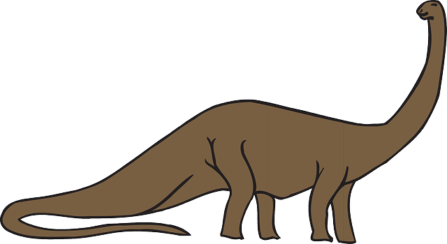 Brown Style Color Art Dinosaur Long Neck Tail