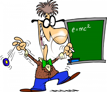 Cartoon Clipart Picture Of A Wacky Math Teacher