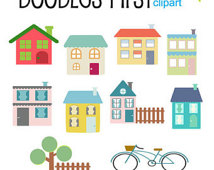 Cute Neighborhood Clipart Digital Clip Art For Scrapbooking Card