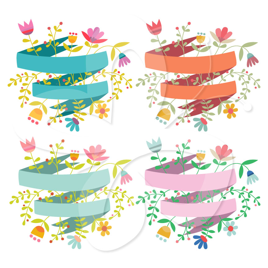 Flower Banner Clipart Set   Creative Clipart Collection