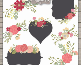 Flower Clipart Rustic Shabby Chic Clipart Rose Blush Red Flower