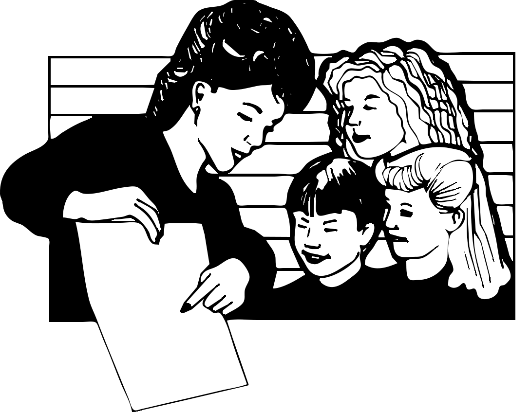 Student Clipart Black And White: Teacher Teaching Black And White Clipart