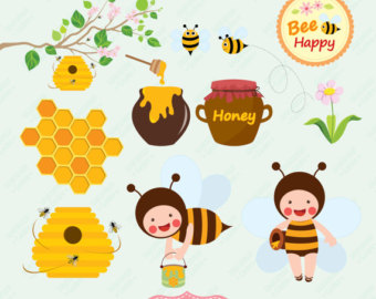 Honey Bee Digital Clipart Bee Hive Honeycomb Honey Spoon Clip Art