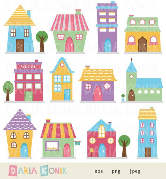 Https   Www Etsy Com Listing 173611109 Houses Clip Art Set Cute Houses