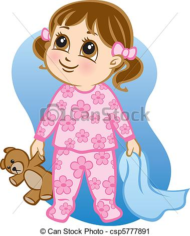 Illustration Of A Toddler Wearing Pajamas And Holding A Teddy Bear And