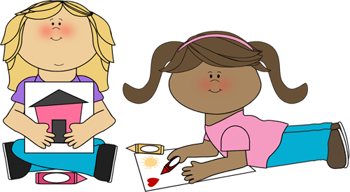 Kids Coloring Clip Art Image   Two Kids Coloring And Showing Their