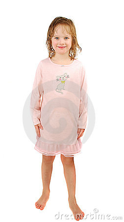 Little Blond Girl Wearing A Pajamas With Wet Hairs Isolated On The