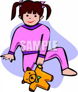 Little Girl Wearing Pink Pajamas   Royalty Free Clipart Picture
