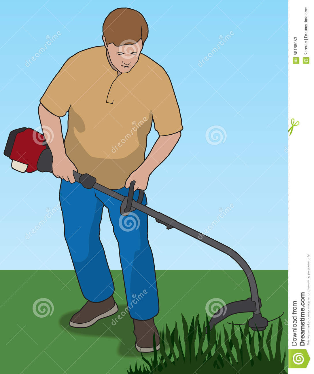 Man Using Weed Whacker To Trim Weeds In Yard