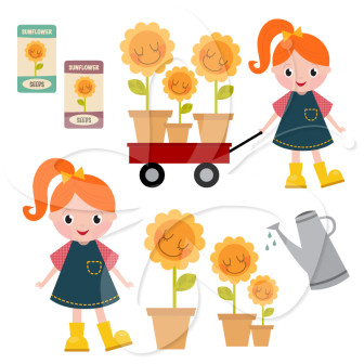Planting Sunflowers Clip Art Set