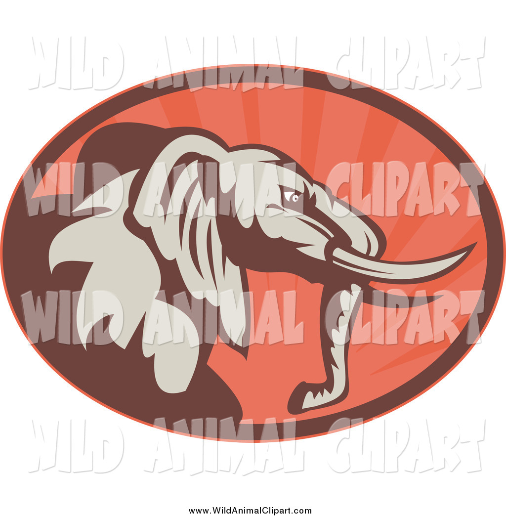 Preview Clip Art Of A Brown And Red Elephant Sun Rays Oval